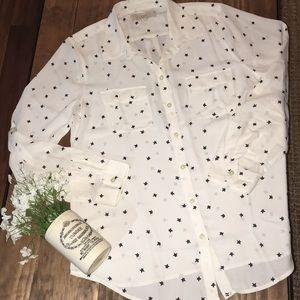 Loft cream and navy stars blouse / size medium